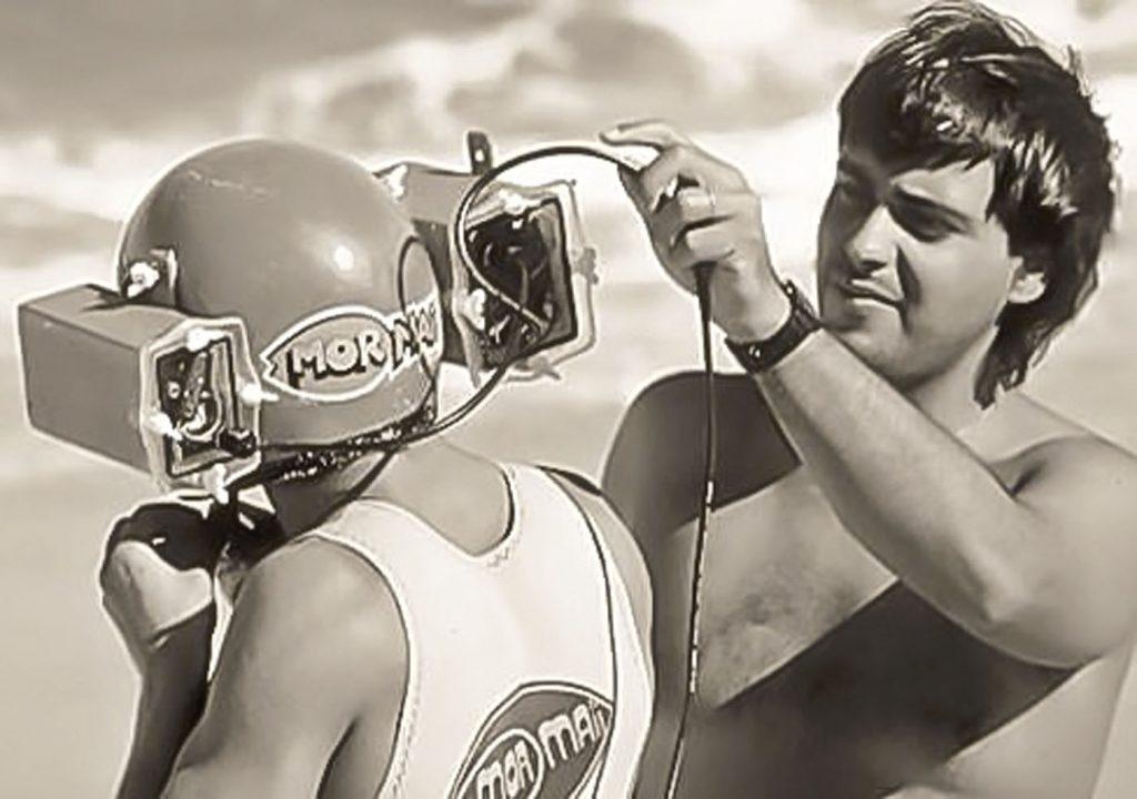 Alberto Sodré (à dir.) testa inovadora caixa-estanque nos anos 1980.