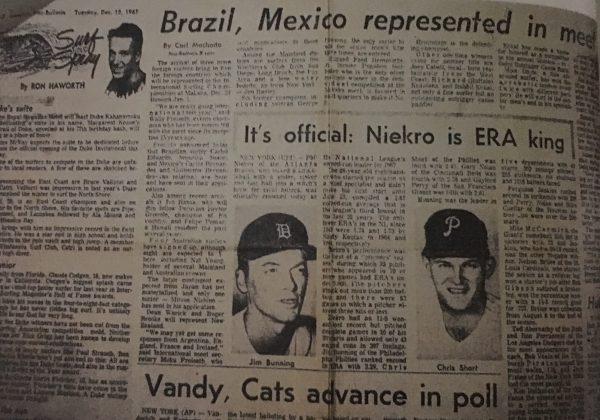 Recortes de jornal sobre a ida de Penho ao Havaí, 1968. Foto: Reprodução.