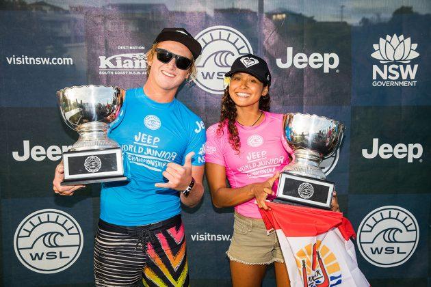 Finn McGill e Vahine Fierro. Mundial Pro Junior 2017, Kiama, Austrália. Foto: WSL / Dunbar