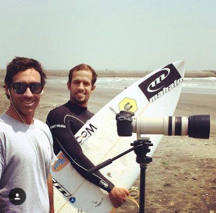 André Teixeira e Bino Lopes, Japão. Foto: Arquivo pessoal.