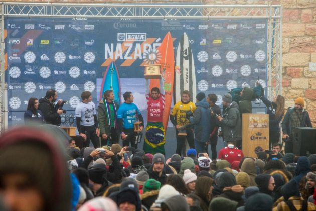 Pódio, Nazaré Challenge 2018, Praia do Norte, Portugal. Foto: WSL / Masurel.