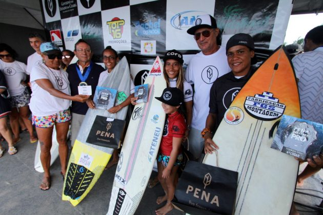 Pódio Feminino Open, Pena Paracuru Pro 2018, Ronco do Mar, Paracuru (CE). Foto: Lima Jr..