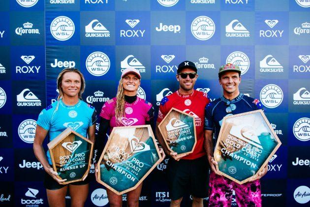 Keely Andrew, Lakey Peterson, Adrian Buchan e Julian Wilson, Quiksilver e Roxy Pro 2018, Gold Coast, Austrália. Foto: WSL / Sloane.