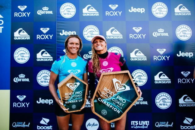Keely Andrew e Lakey Peterson, Roxy Pro 2018, Gold Coast, Austrália. Foto: WSL / Sloane.