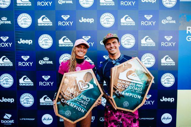 Lakey Peterson e Julian Wilson, Quiksilver Pro 2018, Gold Coast, Austrália. Foto: WSL / Sloane.
