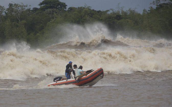Uma das mais poderosas pororocas ocorridas nos últimos anos, Pororoca do Rio Araguari (AP). Foto: Toninho Jr..