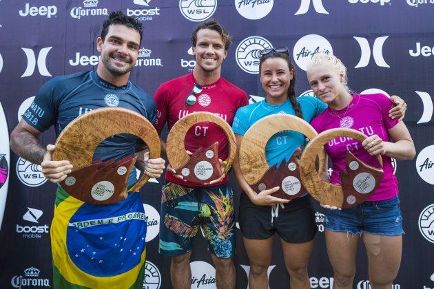Willian Cardoso, Julian Wilson, Johanne Defay e Tatiana Weston-Webb. Uluwatu CT 2018, Bali, Indonésia. Foto: WSL / Cestari
