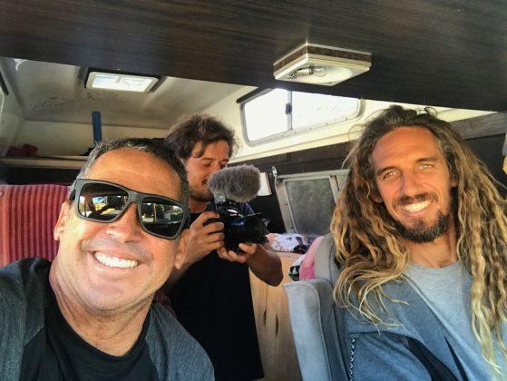 Diversão a caminho do surfe em Cardiff, Califórnia (EUA). Foto: Arquivo pessoal Fabio Gouveia.