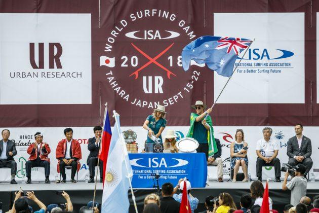 Equipe da Austrália, Cerimônia de abertura do UR ISA World Surfing Games 2018, Long Beach, Tahara, Japão. Foto: ISA / Ben Reed.