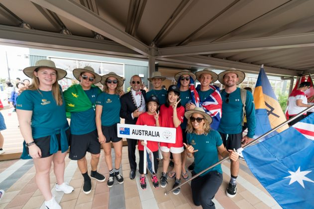 Equipe da Austrália, Cerimônia de abertura do UR ISA World Surfing Games 2018, Long Beach, Tahara, Japão. Foto: ISA / Sean Evans.