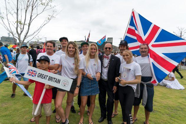 Equipe da Grã-Bretanha, Cerimônia de abertura do UR ISA World Surfing Games 2018, Long Beach, Tahara, Japão. Foto: ISA / Sean Evans.