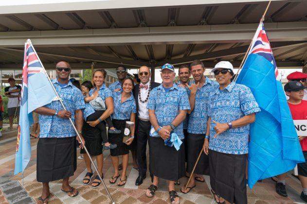 Equipe de Fiji, Cerimônia de abertura do UR ISA World Surfing Games 2018, Long Beach, Tahara, Japão. Foto: ISA / Sean Evans.
