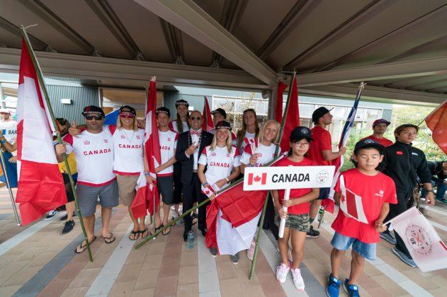 Equipe do Canadá, Cerimônia de abertura do UR ISA World Surfing Games 2018, Long Beach, Tahara, Japão. Foto: ISA / Sean Evans.