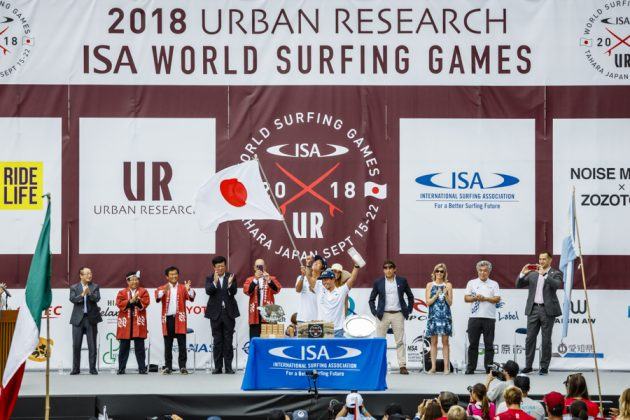 Equipe do Japão, Cerimônia de abertura do UR ISA World Surfing Games 2018, Long Beach, Tahara, Japão. Foto: ISA / Ben Reed.