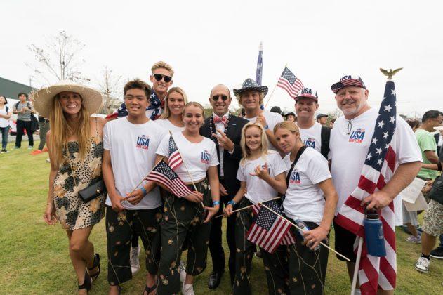 Equipe dos EUA, Cerimônia de abertura do UR ISA World Surfing Games 2018, Long Beach, Tahara, Japão. Foto: ISA / Sean Evans.