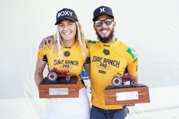 Stephanie Gilmore e Filipe Toledo, Surf Ranch Pro 2018, Lemoore, Califórnia (EUA). Foto: WSL / Cestari.