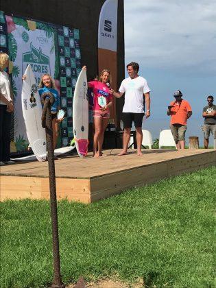 A campeã Layne Beachley, Mundial Master 2018, Açores, Portugal. Foto: Arquivo pessoal Fabio Gouveia.