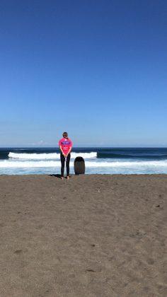 Concentração da australiana Pam Burridge, Mundial Master 2018, Açores, Portugal. Foto: Arquivo pessoal Fabio Gouveia.