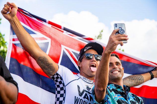 Ezekiel Lau e Kaipo Guerrero, Vans World Cup 2018, Sunset, North Shore de Oahu, Havaí. Foto: WSL / Keoki.