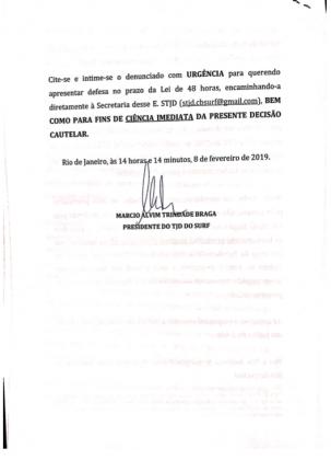 Decisão do TJD. Foto: Reprodução.