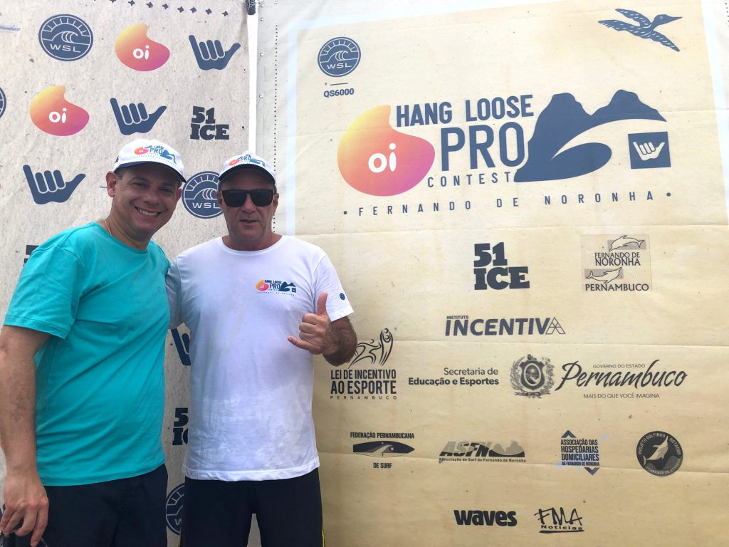 Fred Amancio e Álfio Lagnado comemoram parceria de sucesso do campeonato de surfe mais tradicional do Brasil.