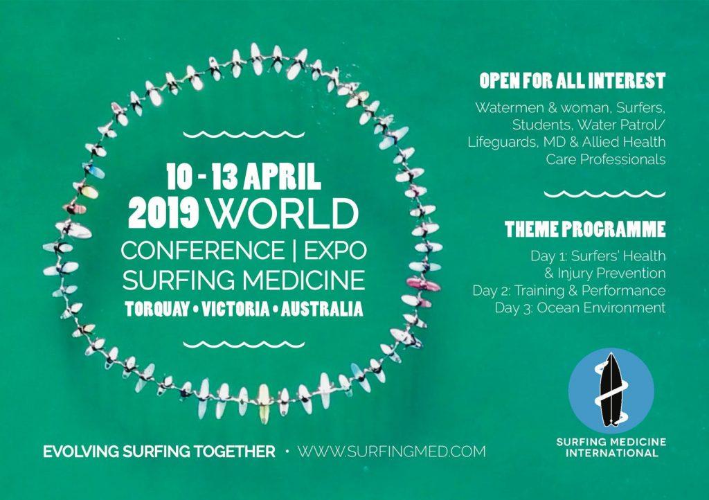Cartaz da Conferência Mundial de Medicina do Surfe de 2019.