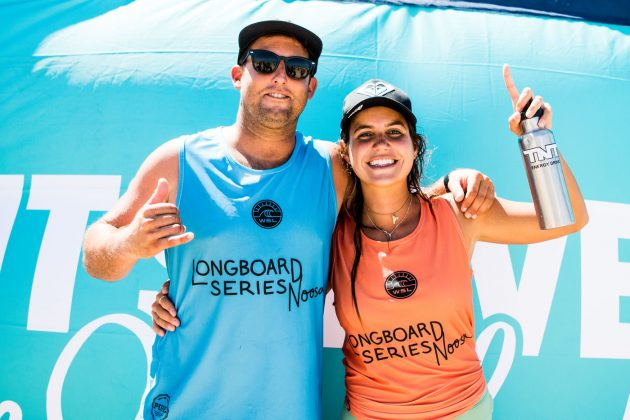 Justin Quintal e Chloé Calmon, Noosa Longboard Open 2019, Austrália. Foto: WSL / Jack Barripp.