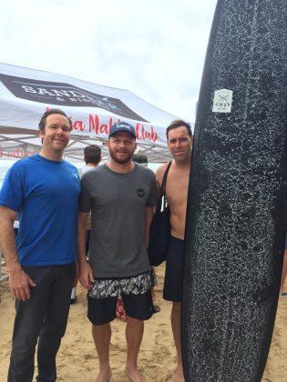 Devon Howard, Phil Rajzman e Josh Constable, Noosa Longboard Open 2019, Austrália. Foto: Arquivo pessoal.