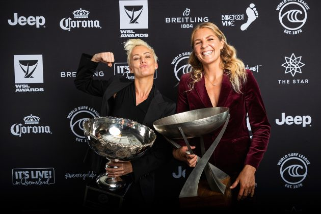 Keala Kennelly e Stephanie Gimore, WSL Awards 2019, Gold Coast, Austrália. Foto: WSL / Cestari.