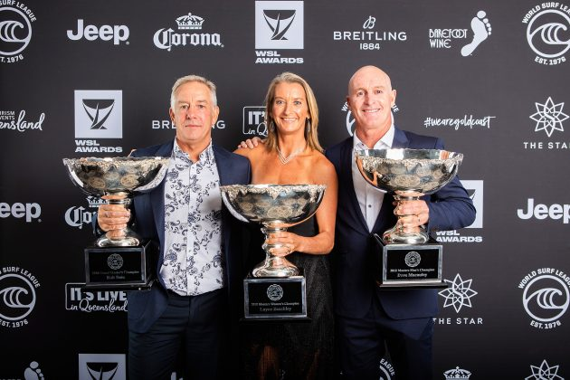 Rob Bain, Layne Beachley e Dave Macaulay, WSL Awards 2019, Gold Coast, Austrália. Foto: WSL / Cestari.