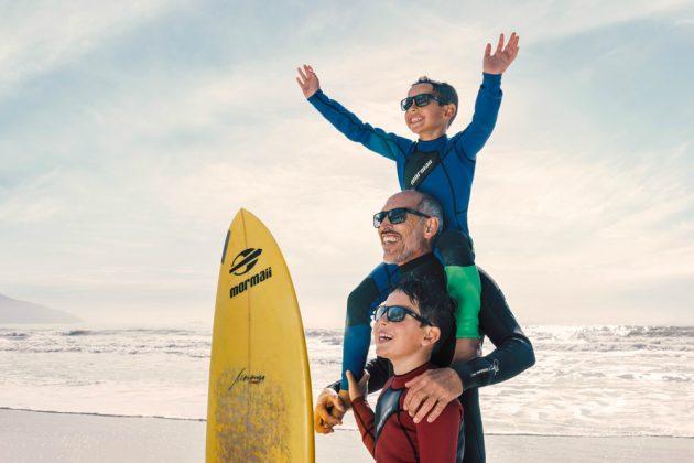 Morongo e netos, 40 invernos de altas ondas Mormaii. Foto: Marcos Medeiros.