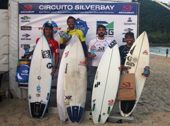 Pódio Open, Circuito Silverbay Amador 2019, Ferrugem, Garopaba (SC). Foto: Basilio Ruy/P.P07.
