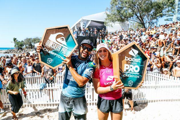 Italo Ferreira e Caroline Marks, Pro Gold Coast 2019, Duranbah, Austrália. Foto: WSL / Cestari.