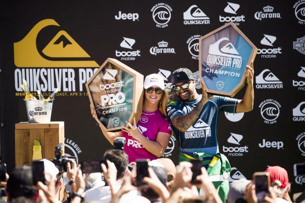 Caroline Marks e Italo Ferreira, Pro Gold Coast 2019, Duranbah, Austrália. Foto: WSL / Dunbar.