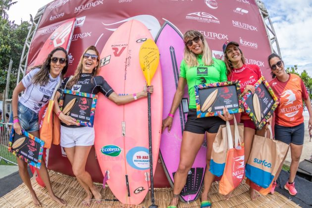Pódio SUP Wave, Neutrox Weekend 2019, praia da Tiririca, Itacaré (BA). Foto: Fabriciano Junior / Abrasp.