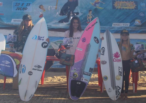 Pódio Sub 12 Feminino, OP ASJ Kids and Kings 2019, Joaquina, Florianópolis (SC). Foto: Basilio Ruy/P.P07.
