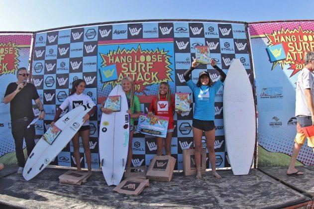 Pódio Feminino, Hang Loose Surf Attack 2019, Perequê-Açú, Ubatuba (SP). Foto: Munir El Hage.