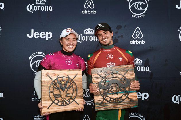 Carissa Moore e Gabriel Medina, Open J-Bay 2019, Jeffreys Bay, África do Sul. Foto: WSL / Sloane.