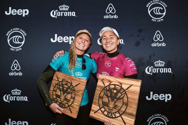 Lakey Peterson e Carissa Moore, Open J-Bay 2019, Jeffreys Bay, África do Sul. Foto: WSL / Sloane.