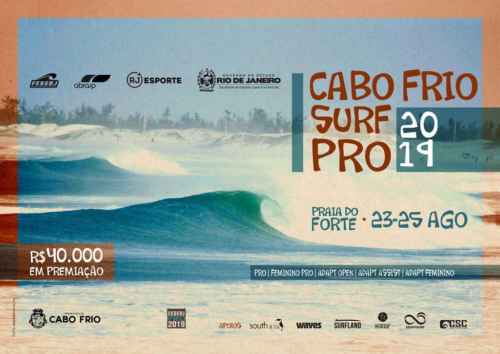 Cabo Frio Surf Pro 2019 acontece entre os dias 23 e 25 deste mês.
