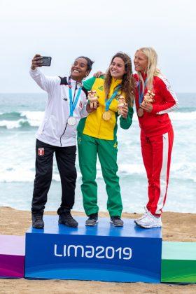 Pódio Longboard, Jogos Pan-Americanos 2019, Punta Rocas, Peru. Foto: ISA / Jimenez.