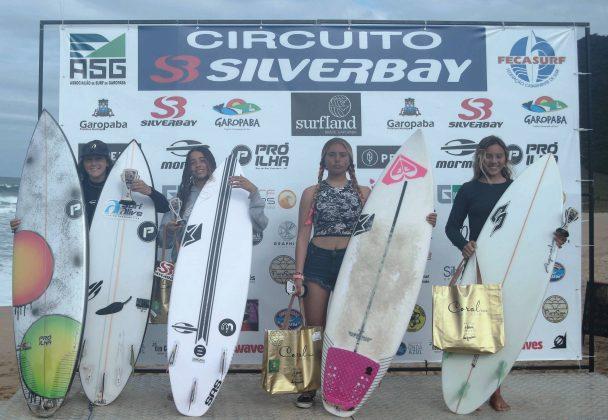 Pódio Feminino Mirim, Circuito Silverbay 2019, Garopaba (SC). Foto: Basilio Ruy/P.P07.