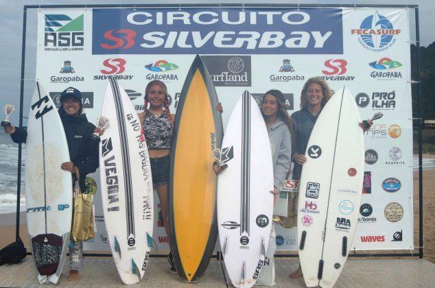 Pódio Feminino Open, Circuito Silverbay 2019, Garopaba (SC). Foto: Basilio Ruy/P.P07.