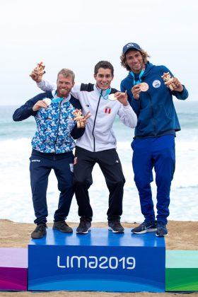 Pódio surfe, Jogos Pan-Americanos 2019, Punta Rocas, Peru. Foto: ISA / Jimenez.