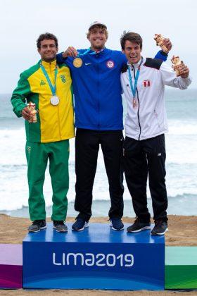 Pódio SUP Race, Jogos Pan-Americanos 2019, Punta Rocas, Peru. Foto: ISA / Jimenez.