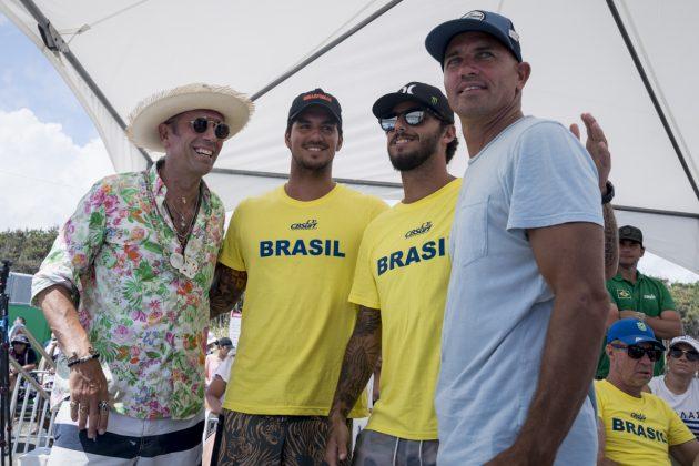 Fernando Aguerre, Gabriel Medina, Filipe Toledo e Kelly Slater, ISA World Surfing Games 2019, Miyazaki, Japão. Foto: ISA / Ben Reed.