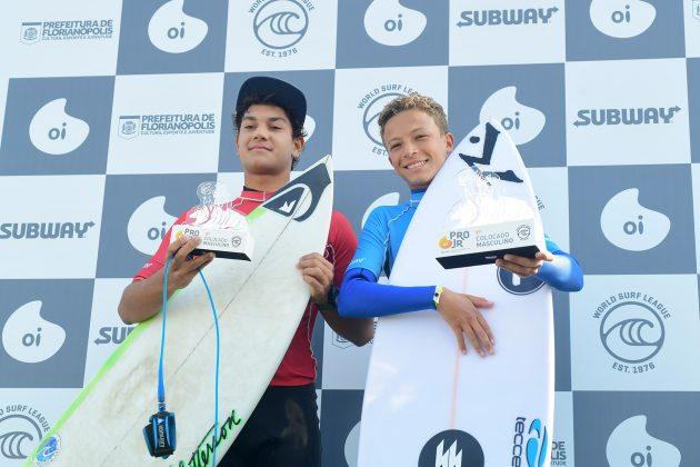Raul Rios e Heitor Muelher, Oi Pro Junior Series 2019, Joaquina, Florianópolis (SC). Foto: Marcio David / Oi.