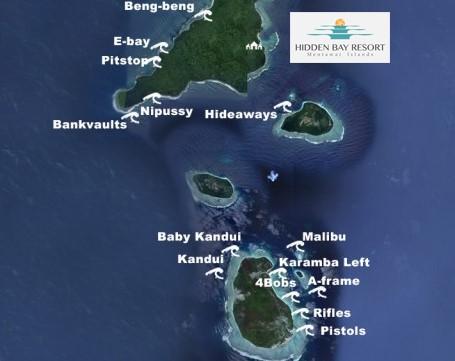 Mapa dos picos da região norte de Mentawai, Mentawai, Indonésia. Foto: Hidden Bay Resort Mentawais.