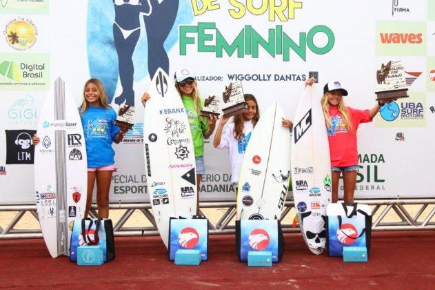 Pódio Sub 13, Circuito Brasileiro Feminino 2019, Itamambuca, Ubatuba (SP). Foto: Daniel Smorigo.