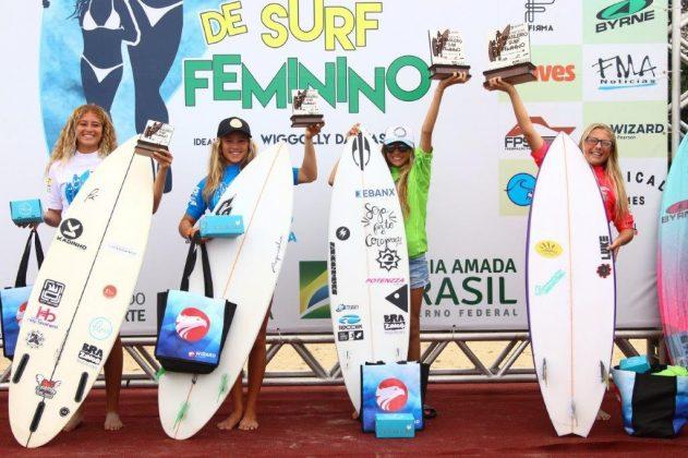 Pódio Sub 14, Circuito Brasileiro Feminino 2019, Itamambuca, Ubatuba (SP). Foto: Daniel Smorigo.